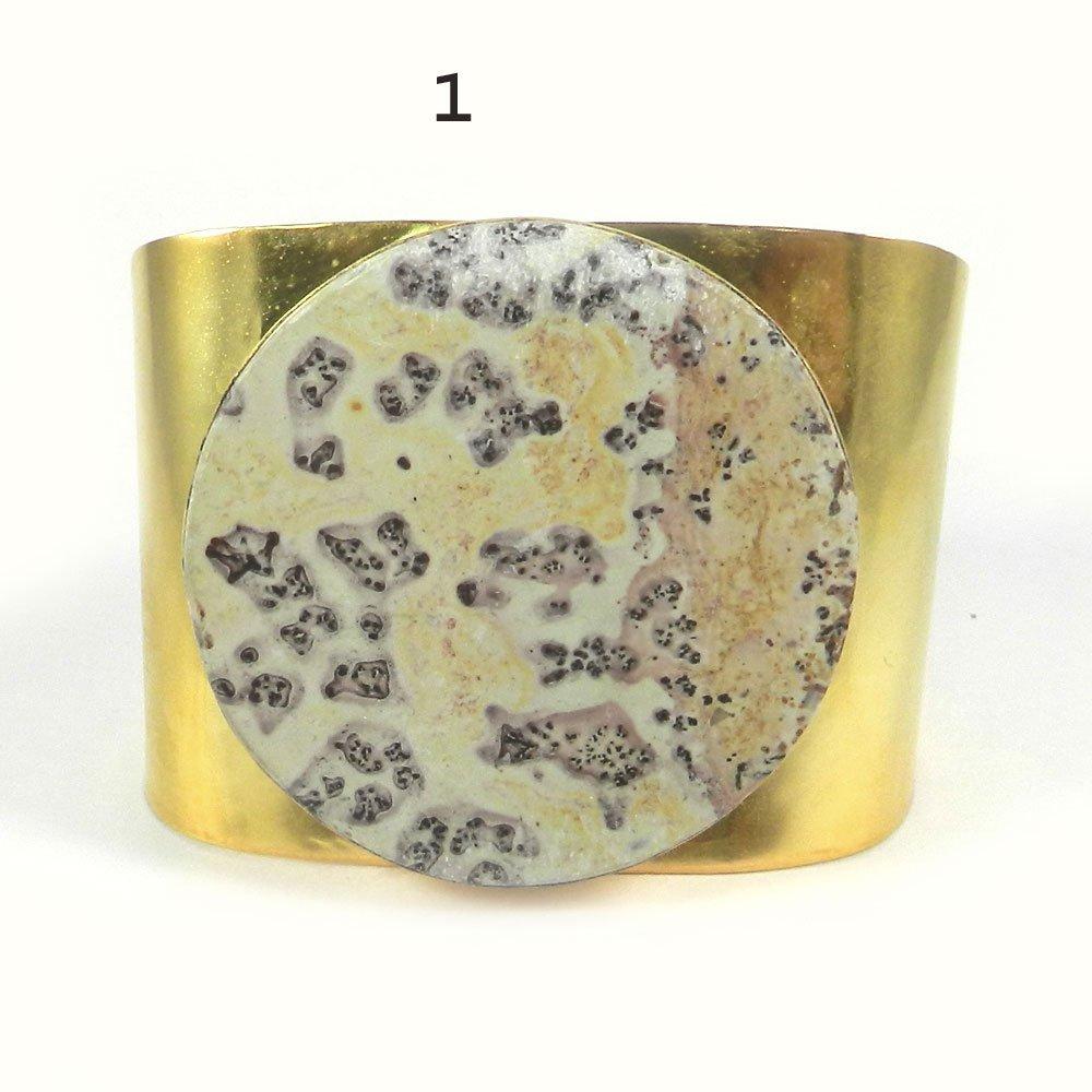 Prisca Picture jasper gold plated cuff bracelet