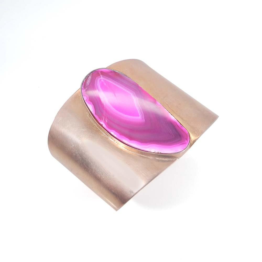 Prisca Pink Agate Slice Rose Gold Plated Adjustable Cuff Bracelet