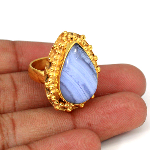 Prominent Jewelry Natural Blue Lace Agate Gemstone Ring Brass Gold Plated Rings Pear Cabochon Rings Wedding Rings Huge Ring