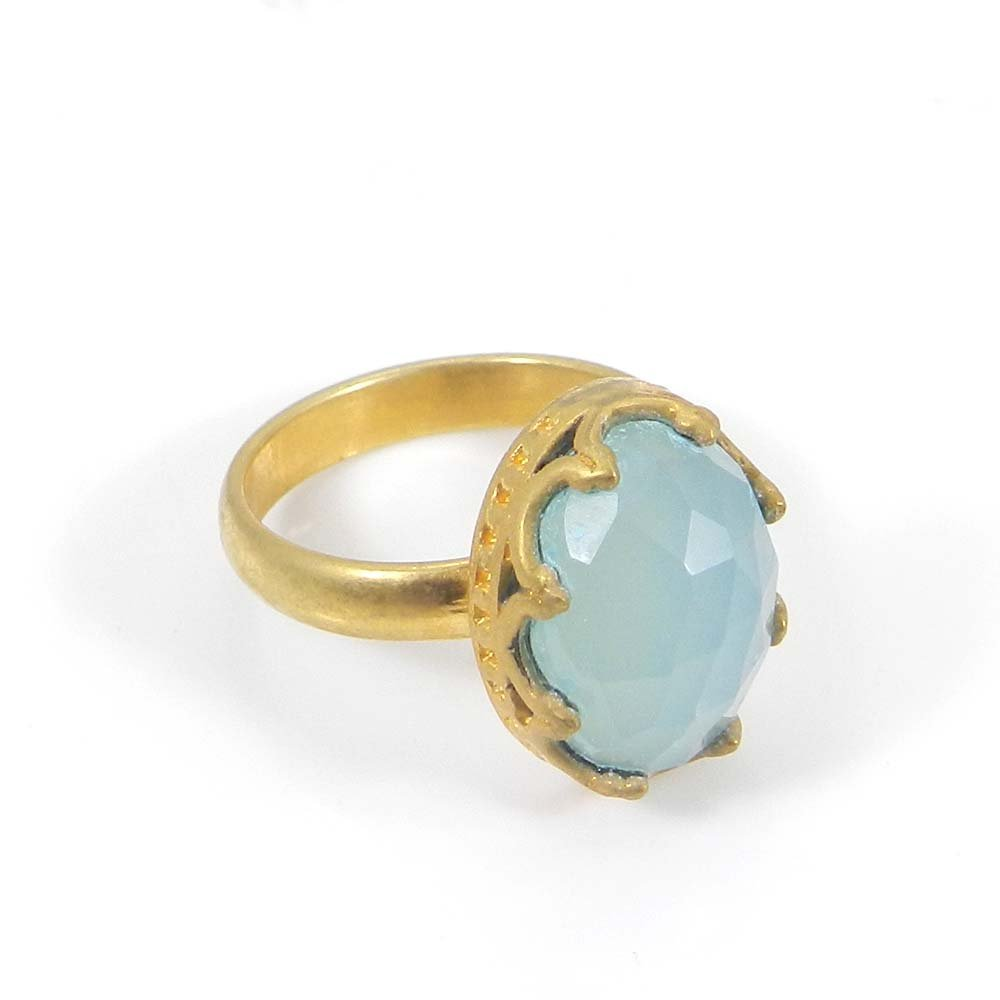 Prominent Natural Aqua Chalcedony Gemstone Ring Designer Gold Plated Ring Wedding Engagement Ring