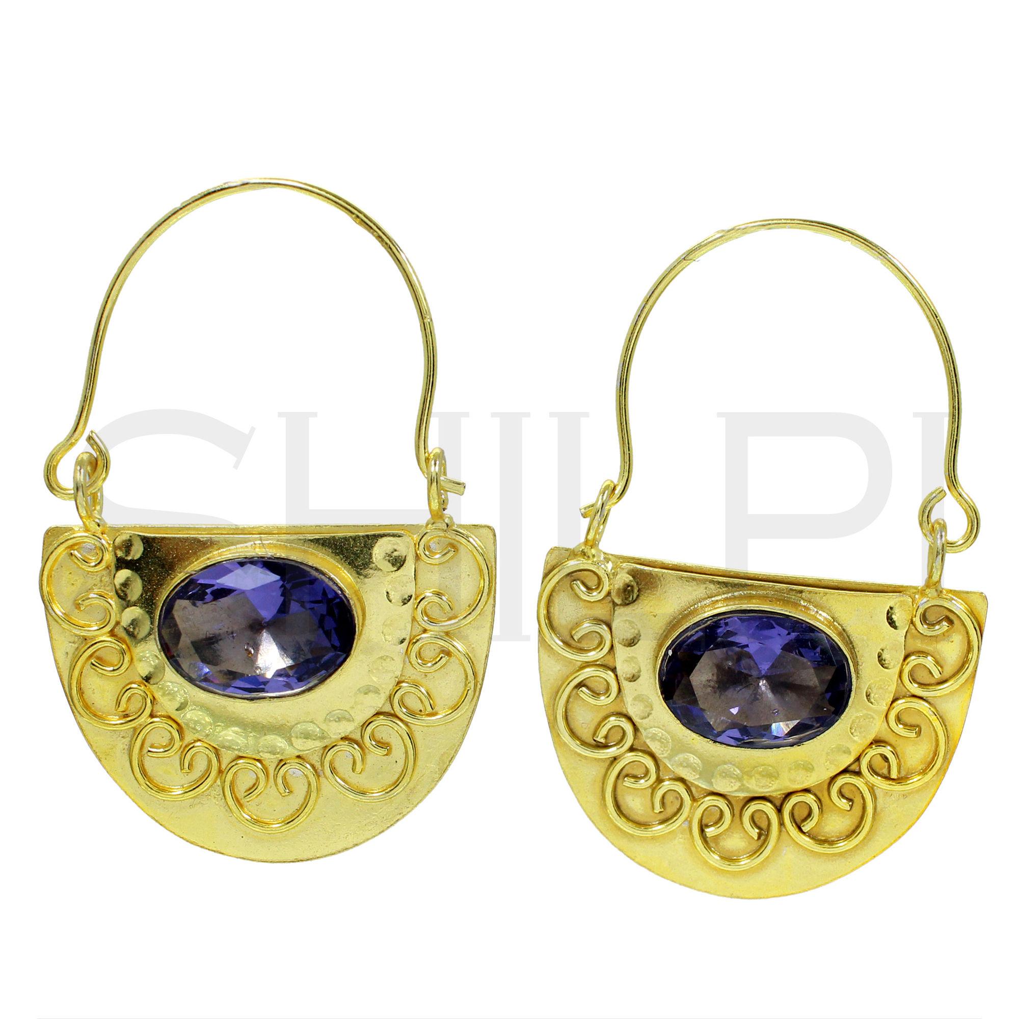 Purple Amethyst Hydro Designer Gold Plated Hoop Earrings
