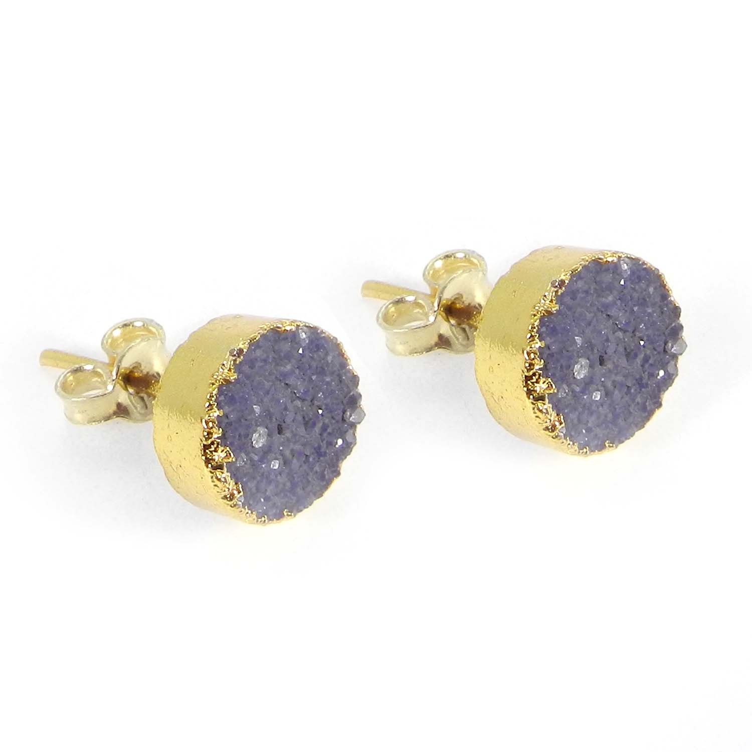 Purple Druzy Round Electroplated Gold Studs Earring