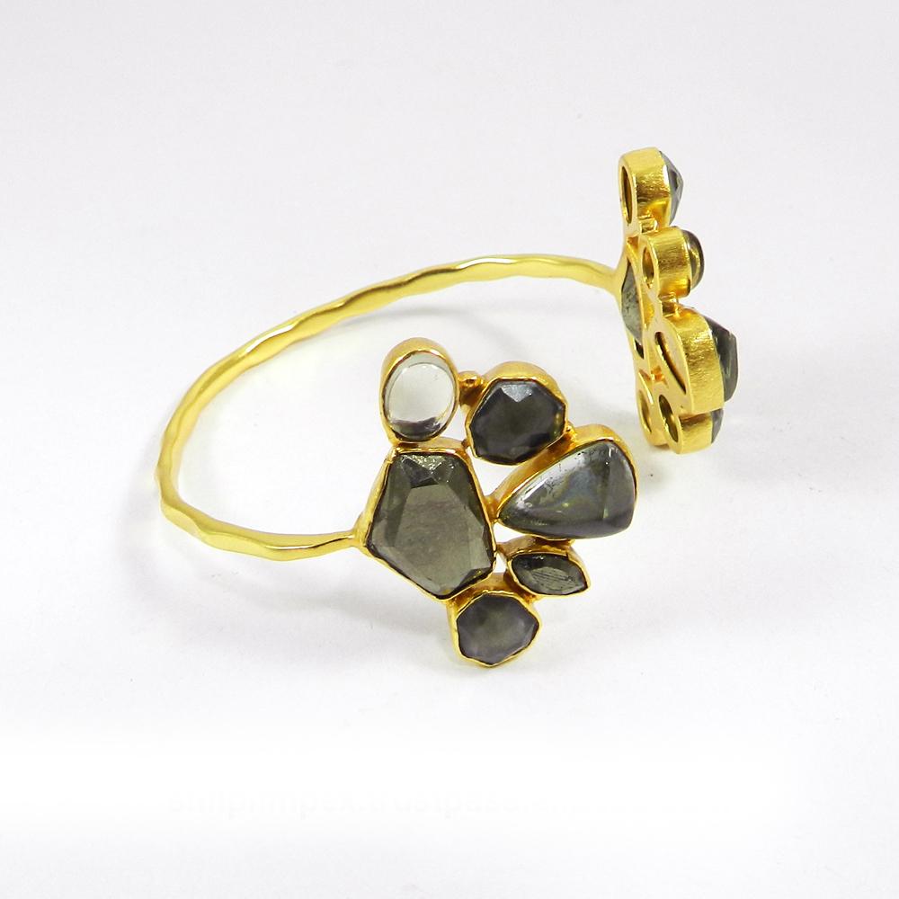 Pyrite Marcasite & Labradorite Doublet Gold Plated Adjustable Bracelet