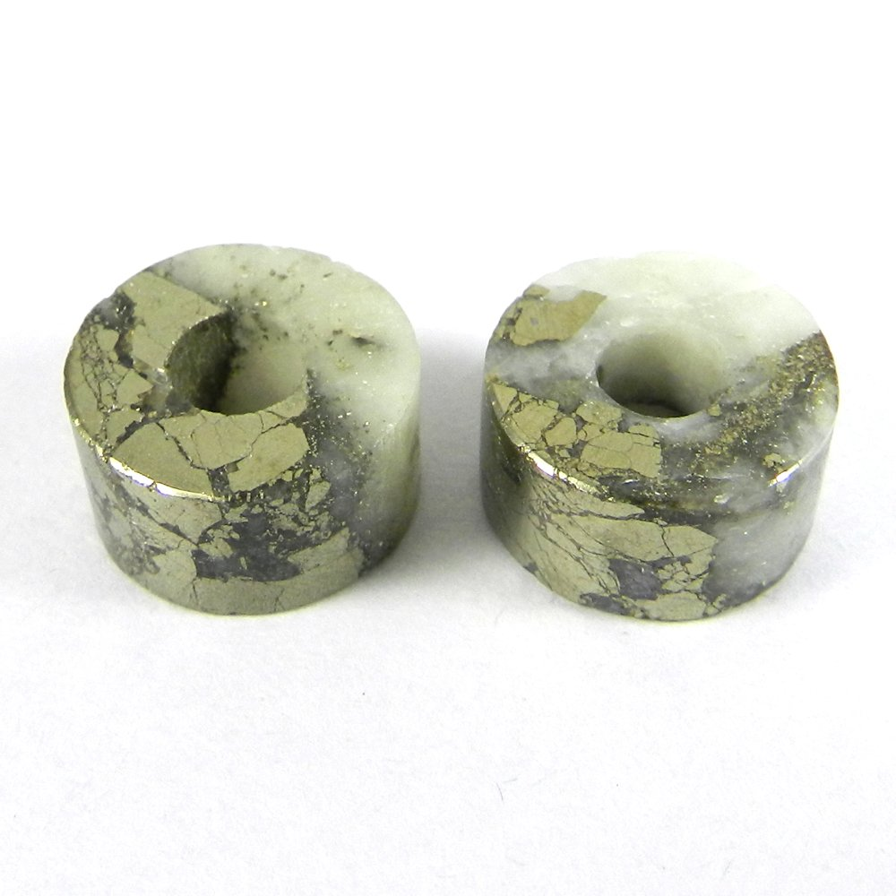Pyrite Marcasite Flat Smooth Big Hole Beads For Pendant Making