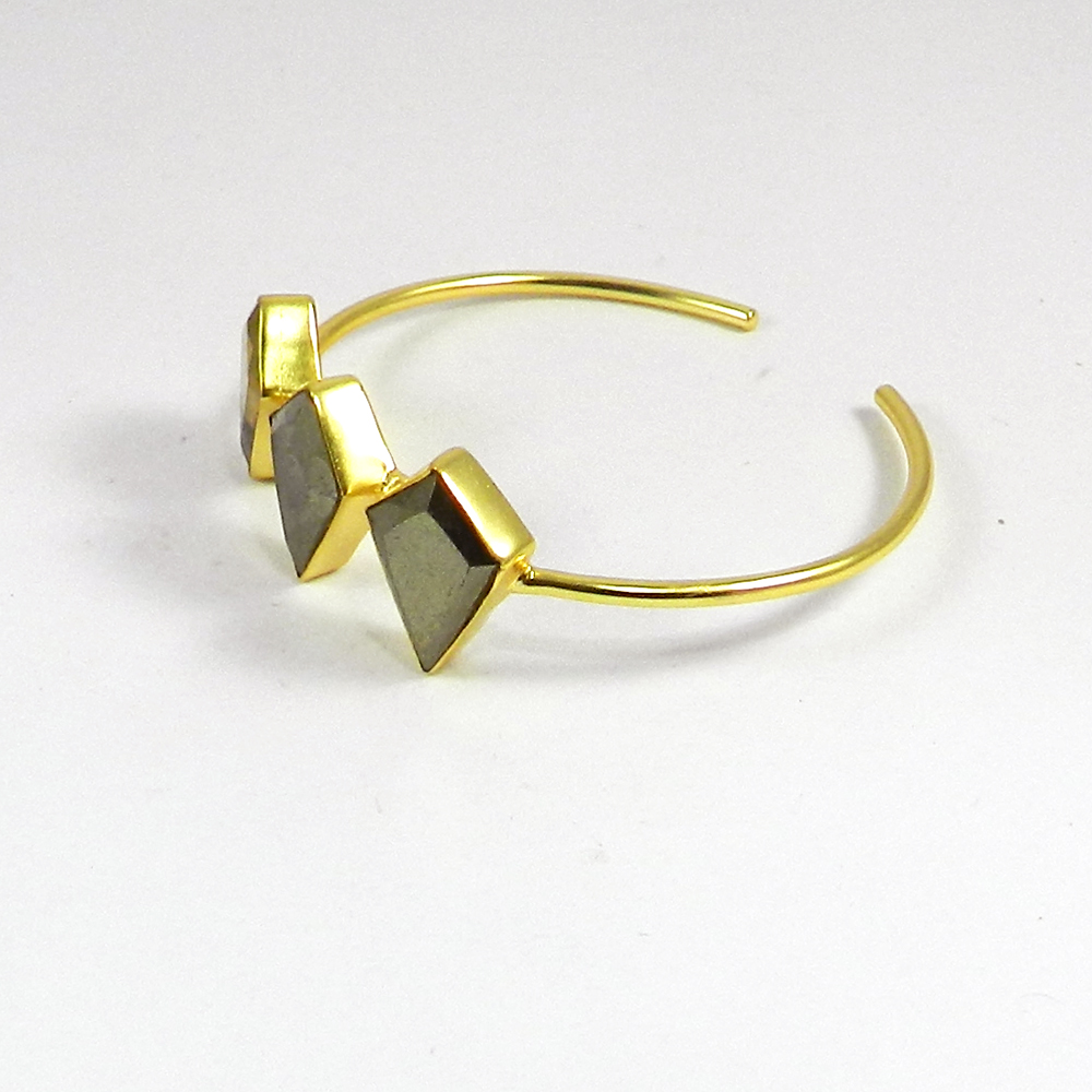 Pyrite Marcasite Gemstone Gold Plated Adjustable Bezel Bangle