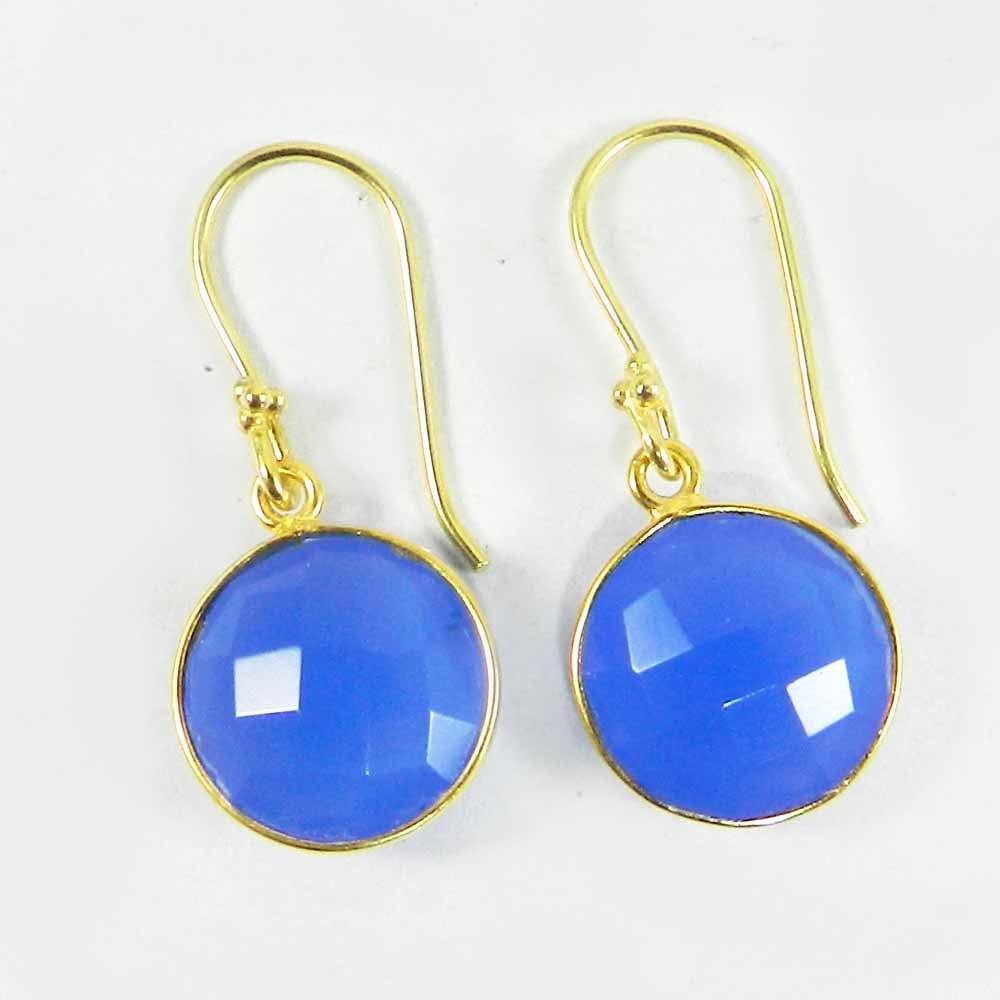Quera Blue Chalcedony Gold Plated Silver Dangle Earring