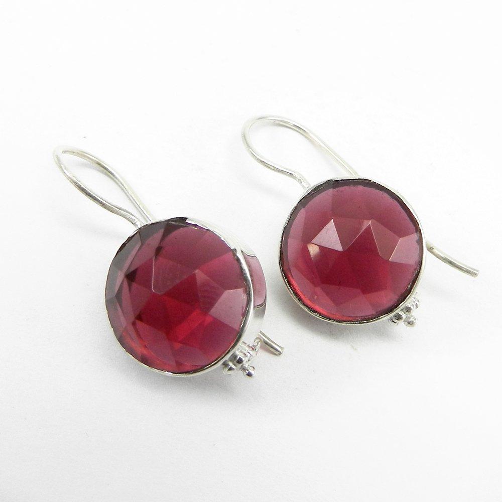 Quera Pink Tourmaline Silver Dangle Earring
