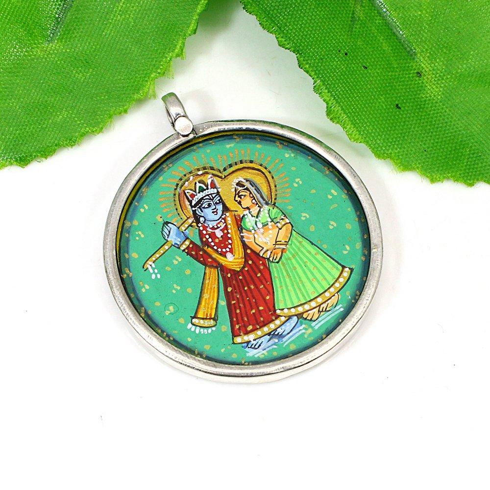 Radha Krishna Divine Love Hand Painted Silver Casual Wear Pendant