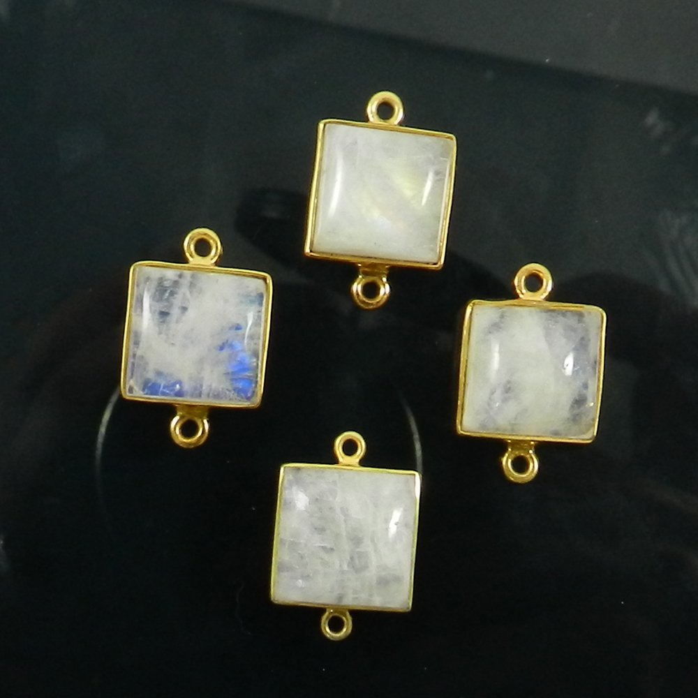 Rainbow Moonstone 20x13mm Square Cabochon Gold Plated Double Loop Connector