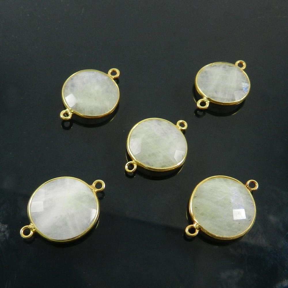Rainbow Moonstone 22x16mm Round Checker Gold Plated Double Loop Connector