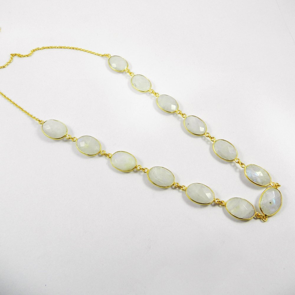 Rainbow Moonstone 9x7mm 18k Gold Plated 34 inch Long chain Pammi Necklace