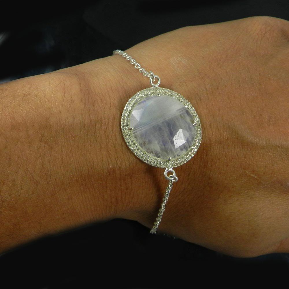 Rainbow Moonstone & CZ 925 Sterling Silver Designer Link Chain Bracelet