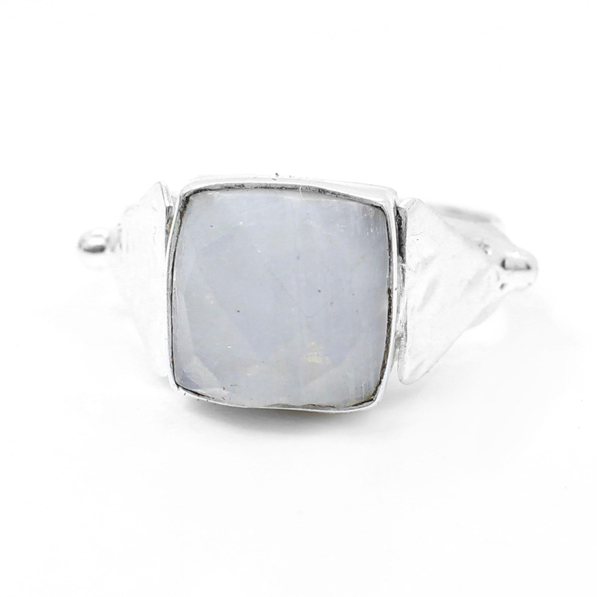 Rainbow Moonstone Handmade Silver Plated Bezel Set Ring