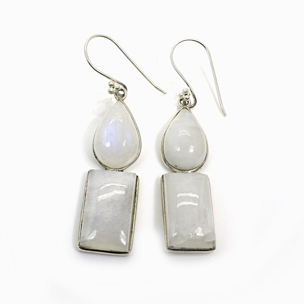 Rainbow Moonstone Silver Plated Dangle Earrings