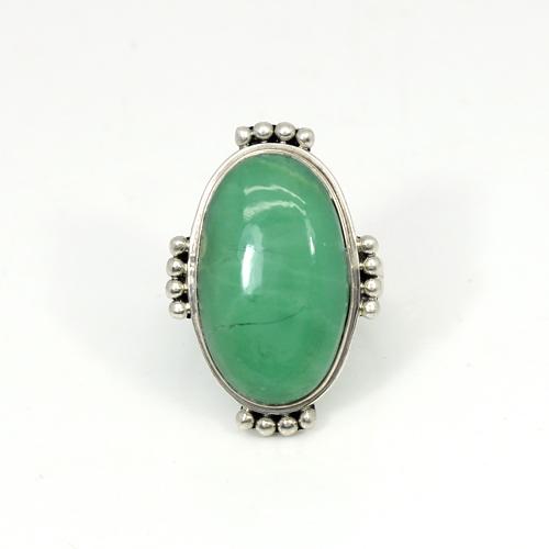 Ravishing Collection Natural Australian Chrysoprase Gemstone Ring Oval Cabochon Rings Designer Huge Ring Art Deco Signet Ring