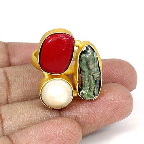 Ravishing Designer Collection Multi Gemstone Ring Brass Gold Plated Adjustable Ring Wedding Engagement Rings Birthday Gift Ring