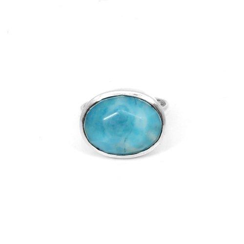 Ravishing Designer Collection Natural Larimar Gemstone Ring Solid 925 Sterling Silver Ring Oval Rings Mans Huge Stackable Ring