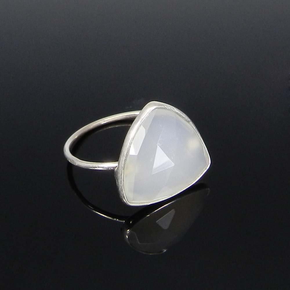 Ravishing Designer Collection Natural White Onyx Gemstone Ring Solid 925 Sterling Silver Ring Delicate Band Bohemian Handmade Ring