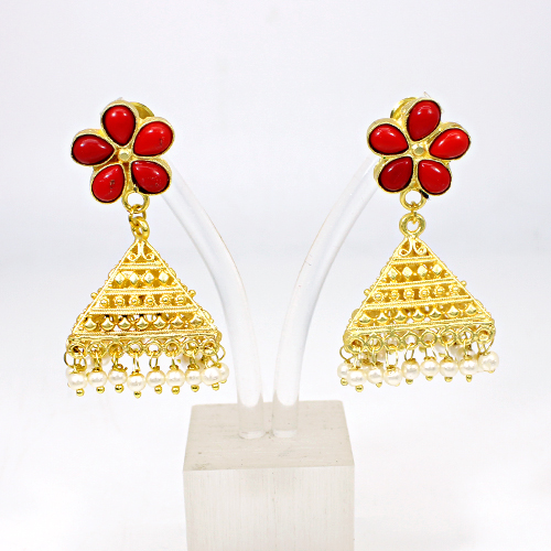 Ravishing Designer Collection Synthetic Red Coral & Pearl Gemstone Jhumkas Triangle Designer Hanging Dangling Vermeil Earring