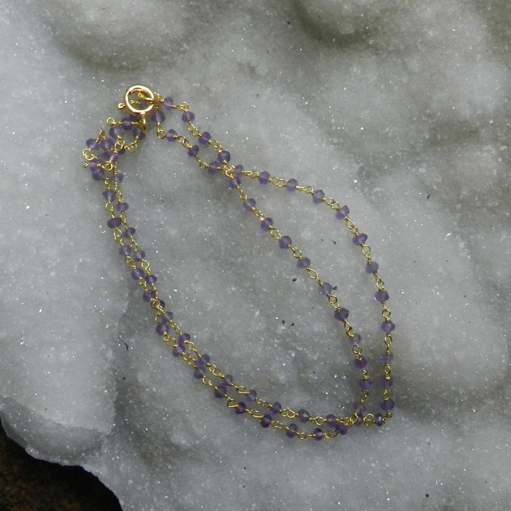 Raziya Amethyst Facet Beads 925 Sterling Silver 18 inch Link Chain Necklace