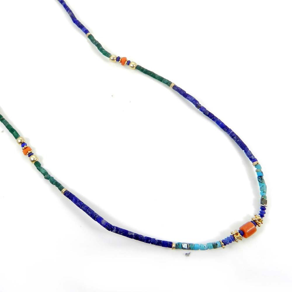 Red Coral,Turquoise & Lapis Beads Gold Plated Tibetan Style Beaded Necklace