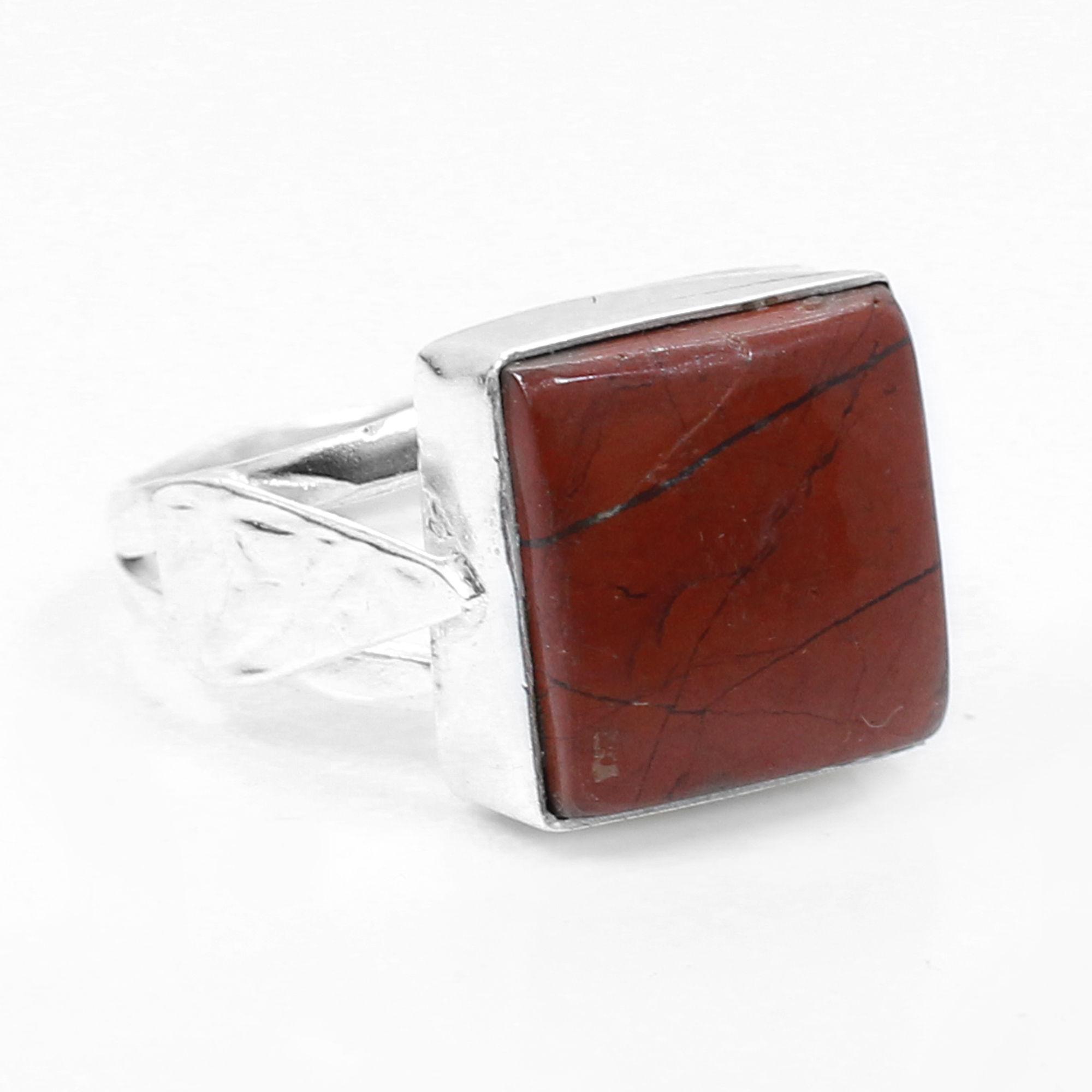 Red Jasper Handmade Silver Plated Bezel Set Ring