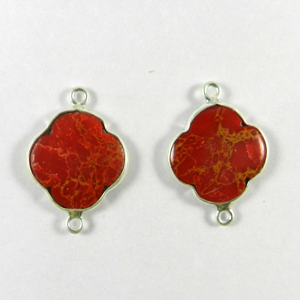 Red Mohave Turquoise Clover 24x17mm 925 Sterling Silver Double Loop Connector