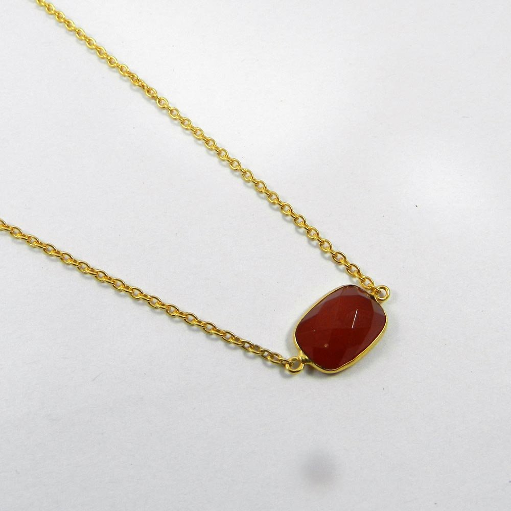 Red Onyx 18k Gold Plated 16 inch Long Chain Necklace