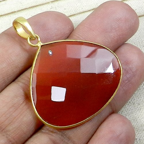 Red Onyx & CZ Gemstone  Pendant Gold Plated Special Ones Gift Pendant