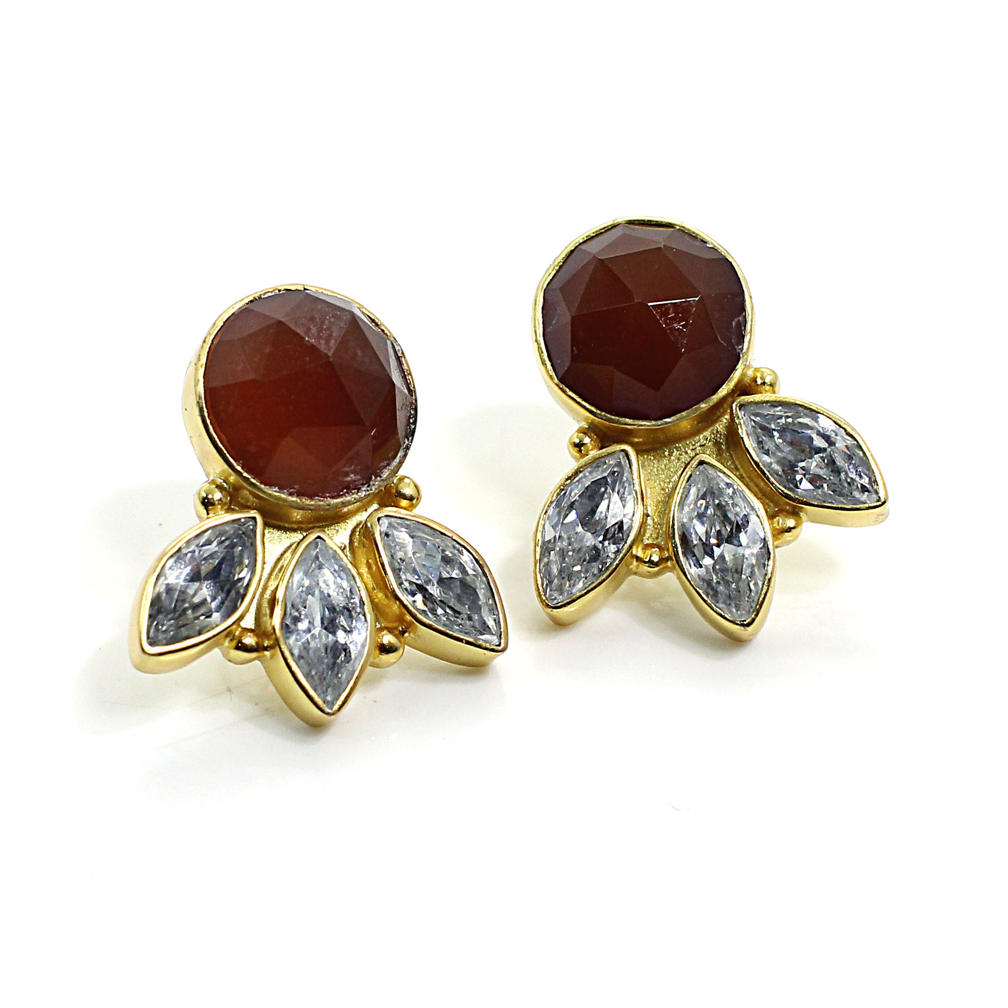 Red Onyx CZ Gold Plated Stud Earrings