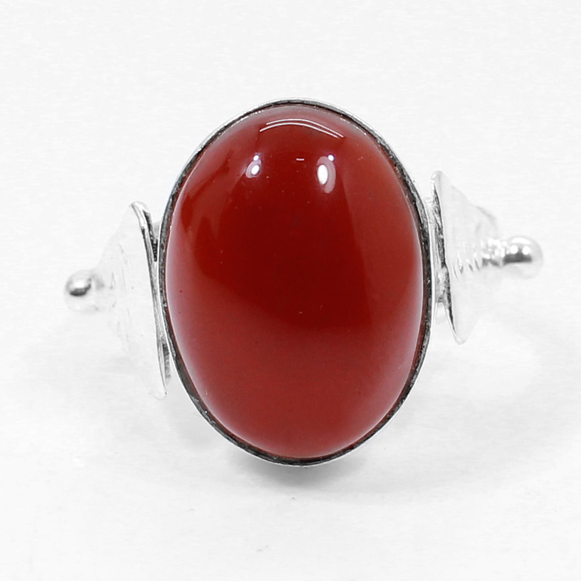 Red onyx Handmade Silver Plated Bezel Set Ring