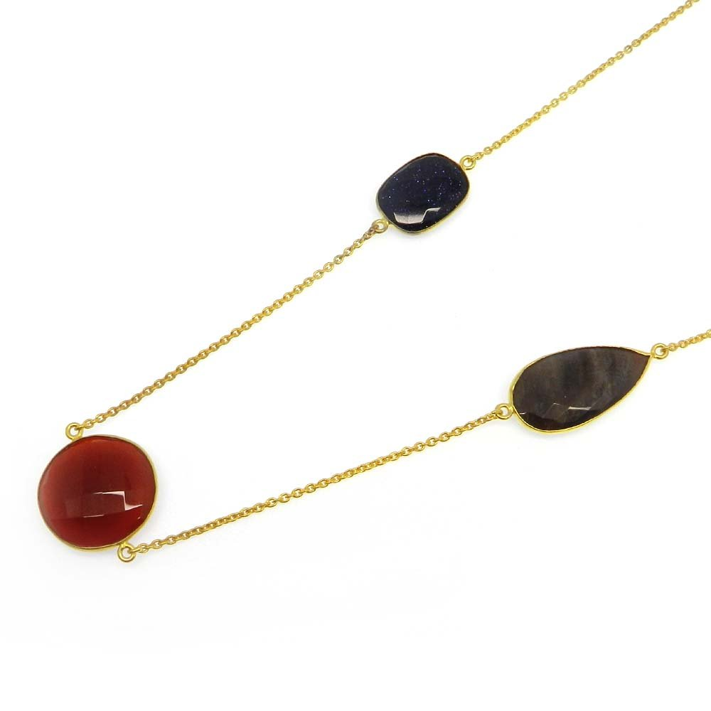 Red Onyx,Blue Sunstone,Jasper Gold Plated 22 inch Long Chain Necklace