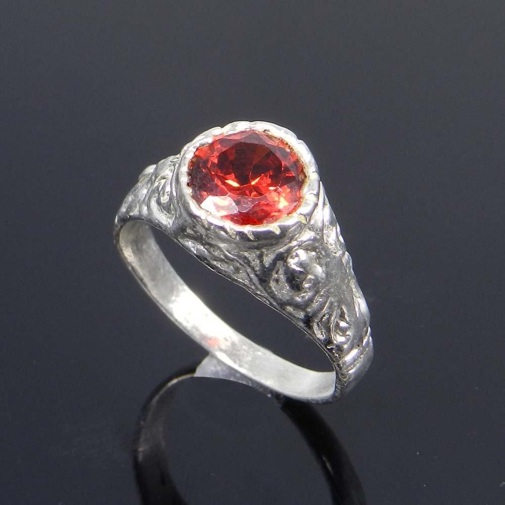 Red Zircon Gemstone German Silver Bezel Set Ring