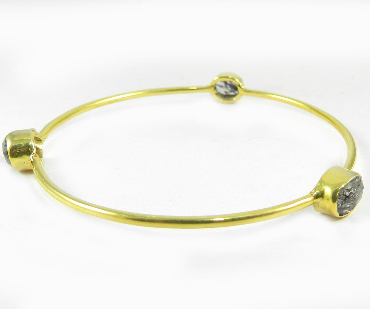 Regina Black Rutile Quartz Gold Plated Designer Bezel Bangle