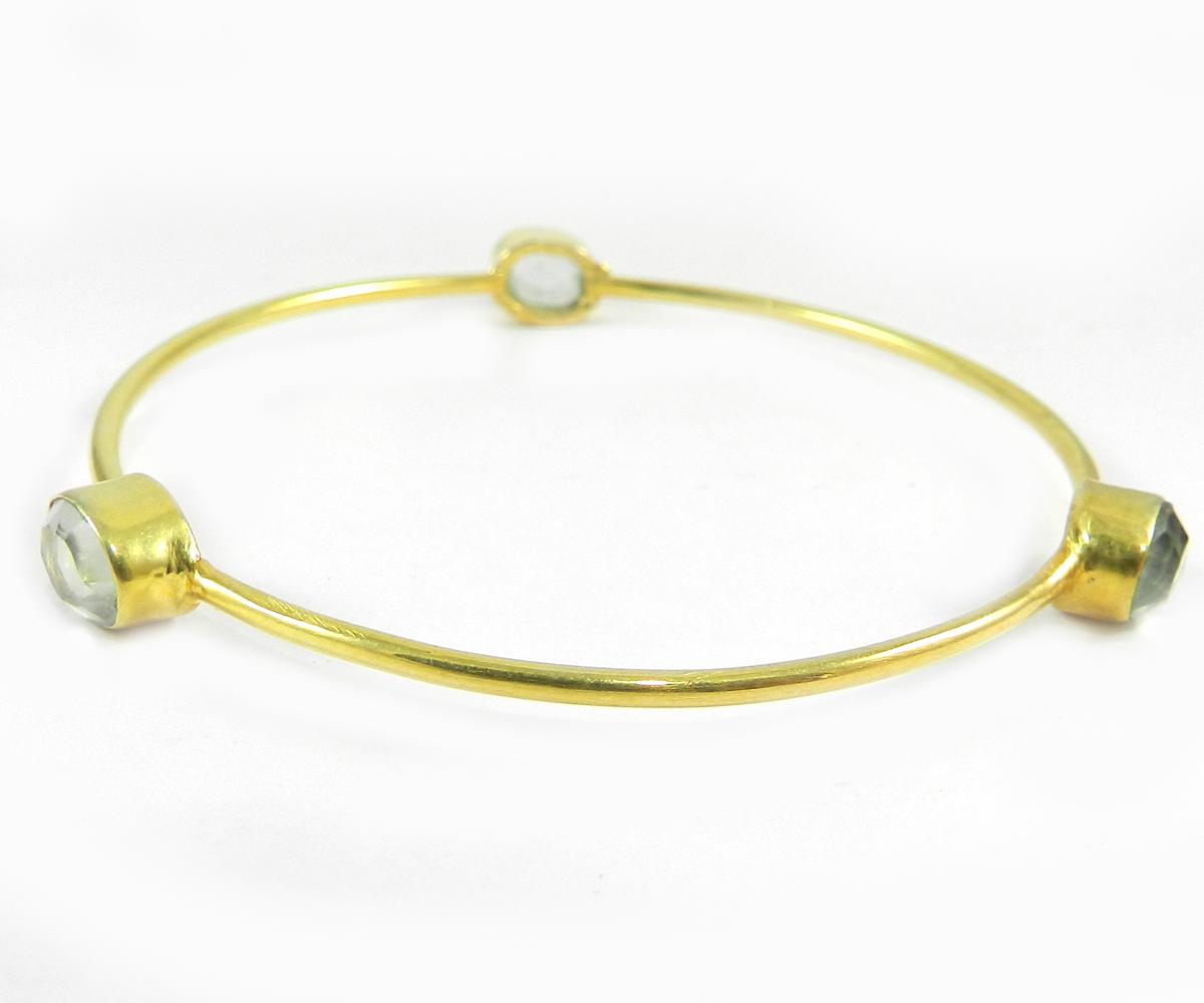 Regina Green Amethyst Hydro Gold Plated Designer Bezel Bangle