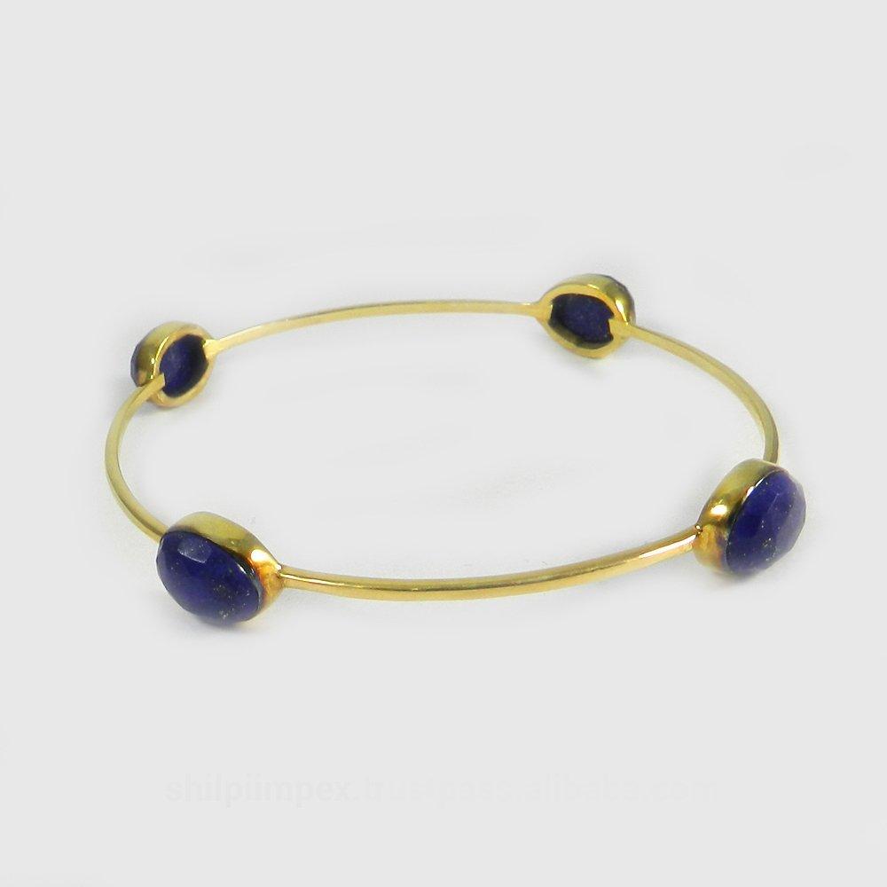 Regina Lapis Lazuli Gold Plated Designer Bezel Bangle