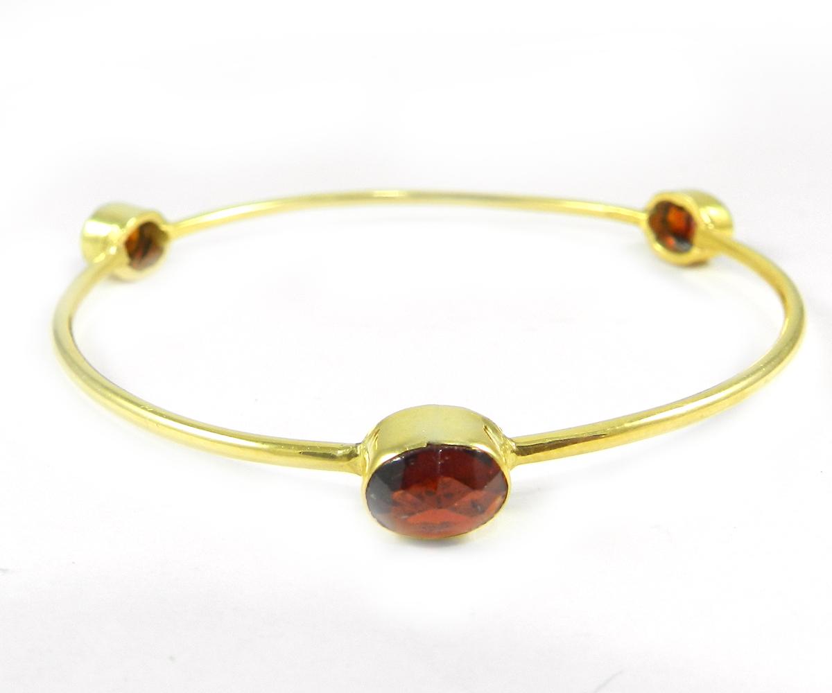 Regina Natural Garnet Gemstone Gold Plated Designer Bezel Bangle