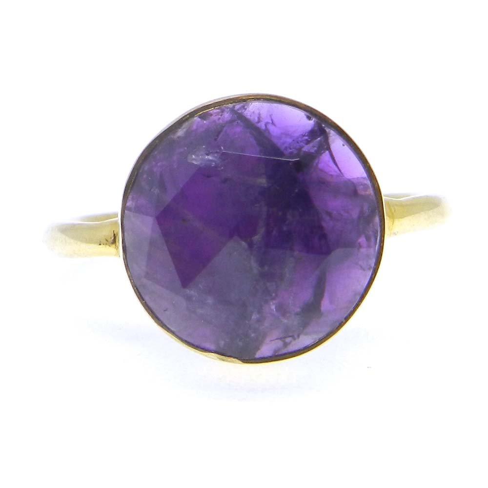 Rehana Amazonite 12mm round 925 Sterling Silver Bezel Ring