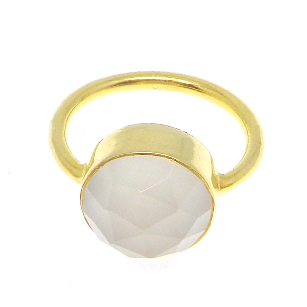 Rehana Red Onyx 12mm round Silver Gold Plated Bezel Ring