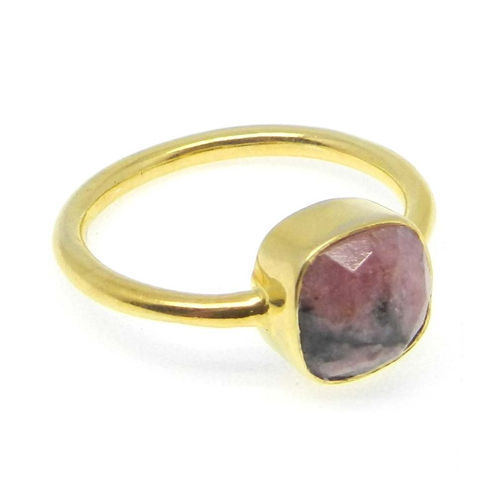 Rhodonite 925 sterling silver gold plated bezel ring