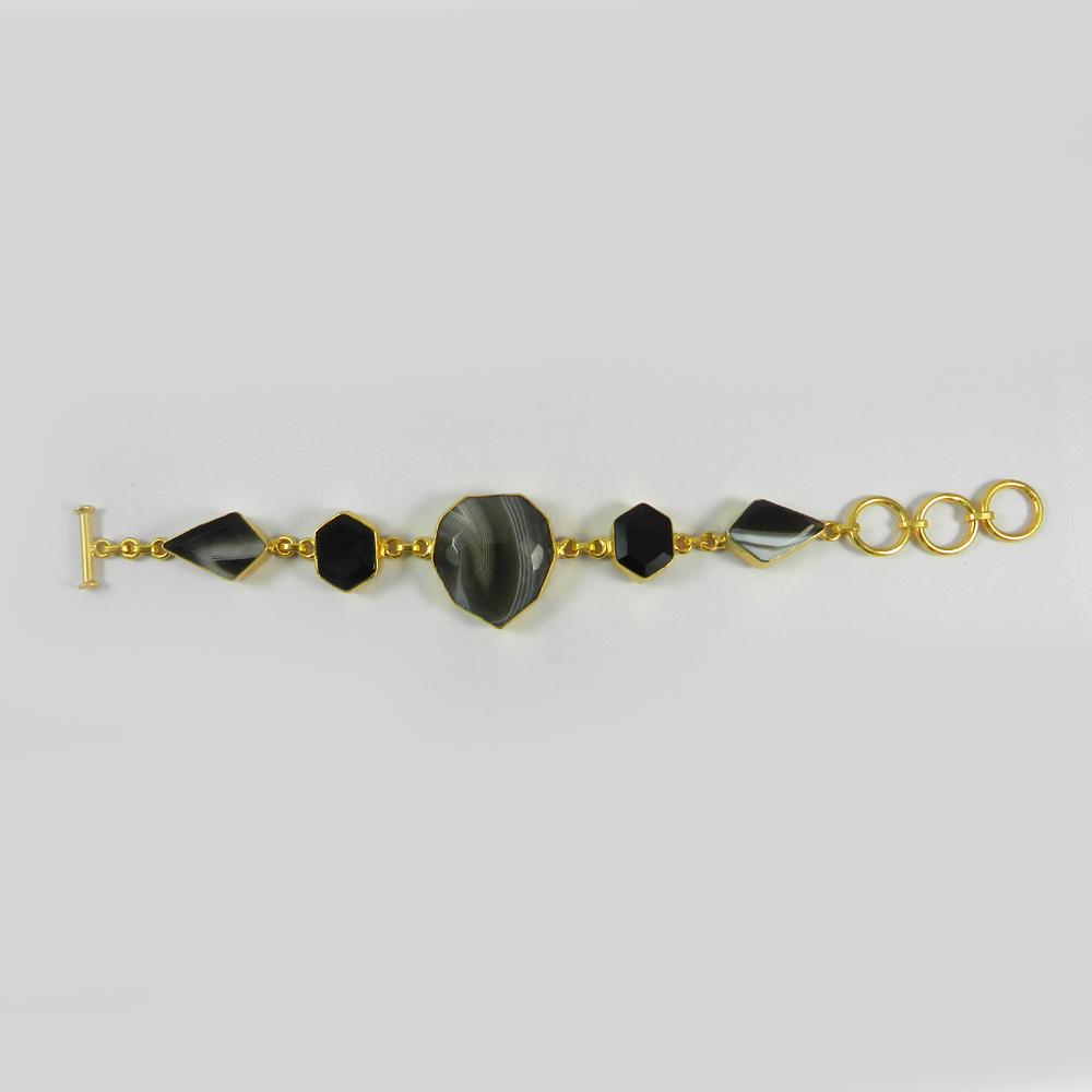 Robin Black Banded Agate Gold Plated Designer Link Chain Bracelet