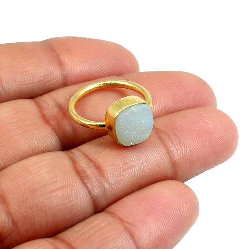 Rosalee Hot Selling White Druzy Ring Solid 925 Sterling Silver Ring Vermeil Rings Unisex Ring