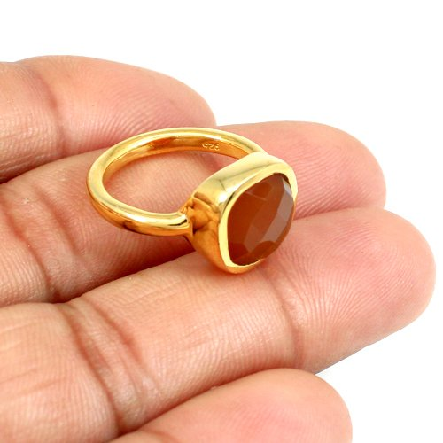 Rosalee Latest Collection Red Onyx Ring Gold Plated Ring 925 Sterling Silver Rings Everyday Ring
