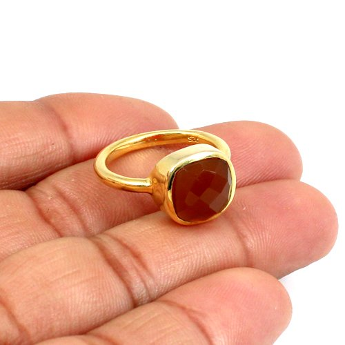 Rosalee Latest Collection Red Onyx Ring Gold Plated Ring 925 Sterling Silver Rings Statement Ring