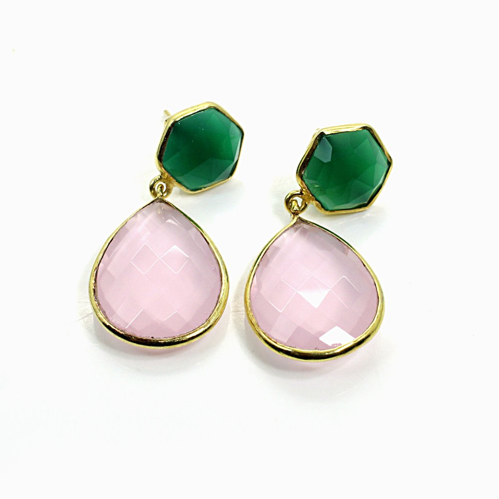 Rose Chalcedony & Green Onyx Sterling Silver Gold Plated Stud Earrings