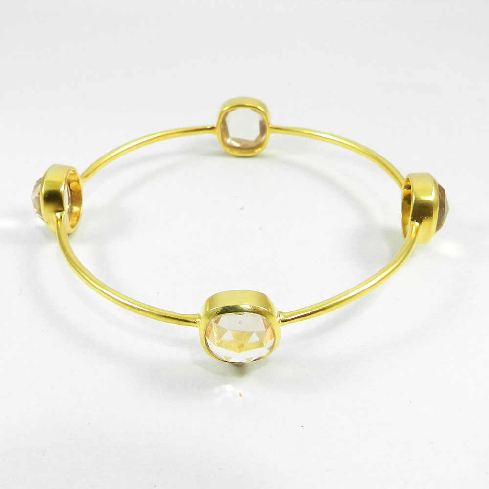 Rose Quartz Gemstone Gold Plated Designer Bezel Bangle