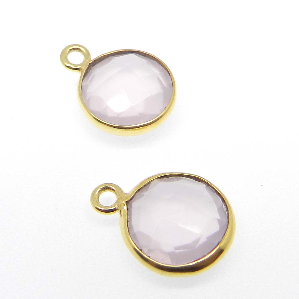 Rose Quartz Round 15x11mm 925 Sterling Silver Single Loop Connector