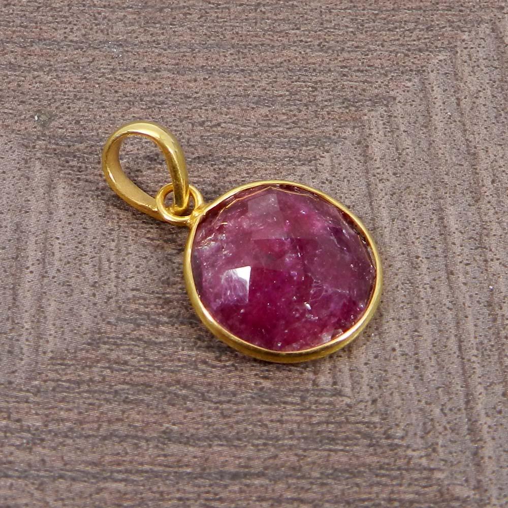 Ruby Corundum Silver Gold Plated Bezel Set Pendant