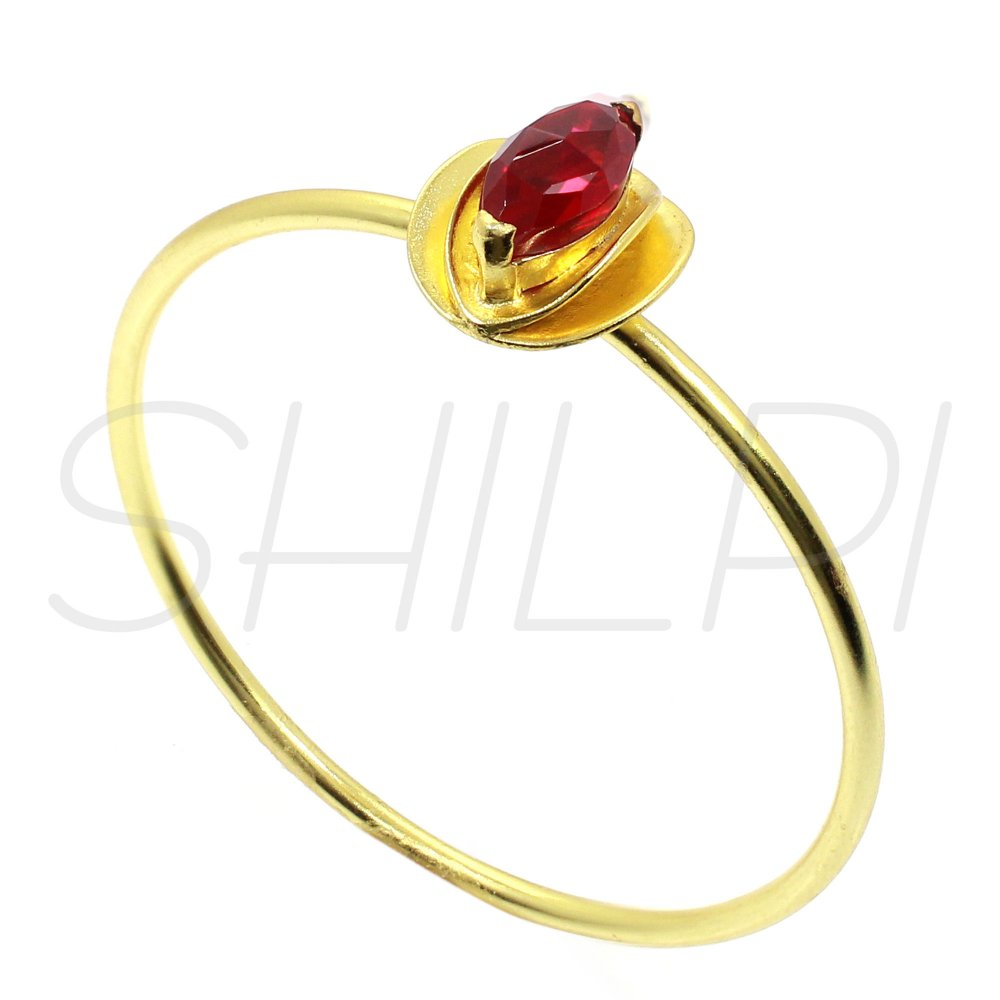 Ruby Hydro Gold Plated Handcrafted Bangle Bracelet
