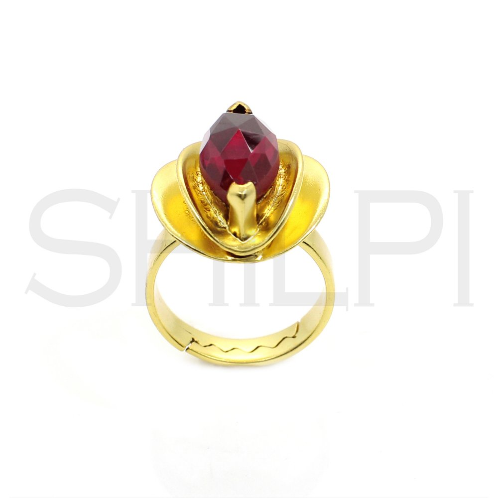 Ruby Hydro Gold Plated Handmade Adjustable Ring